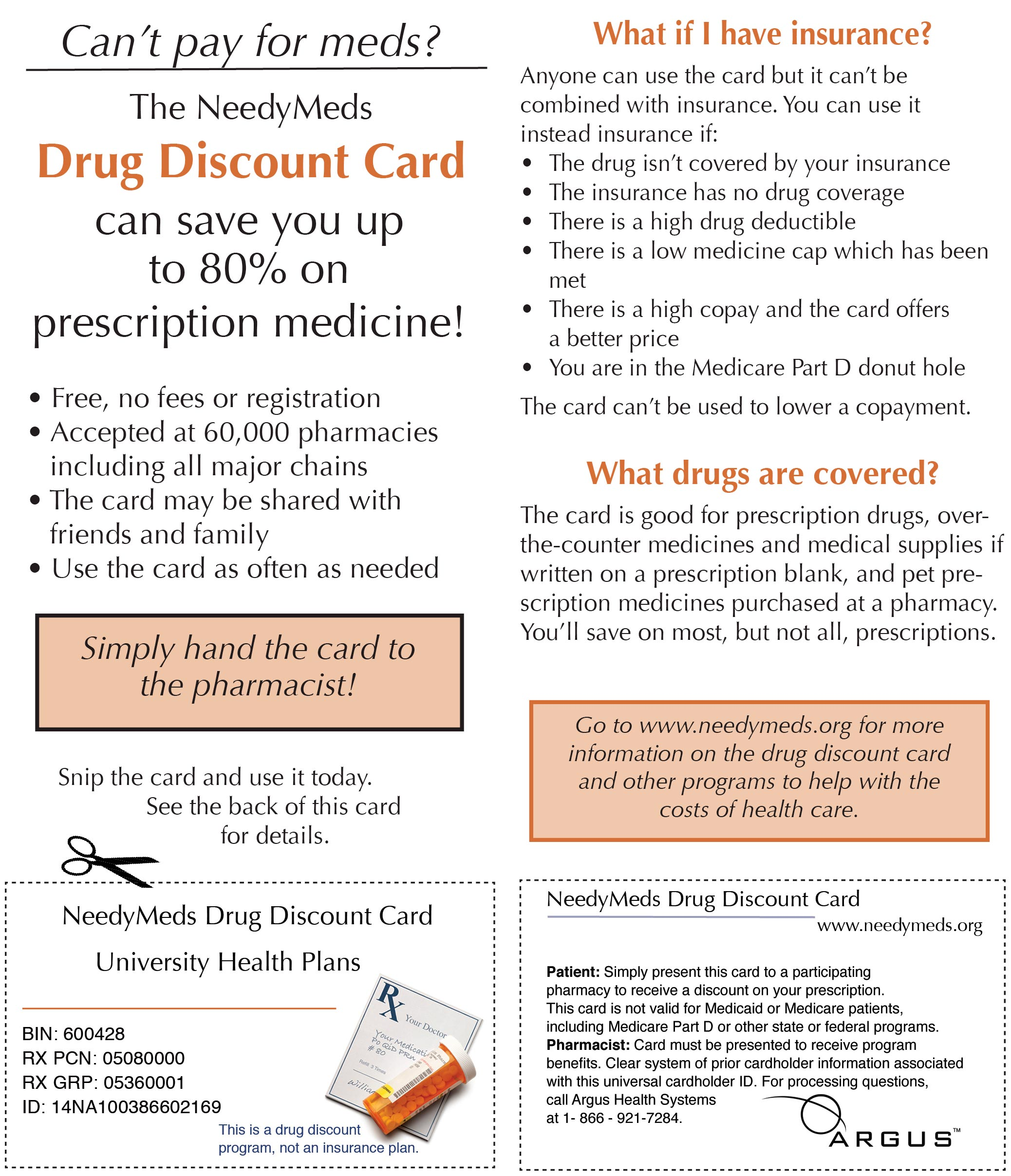 NeedyMeds Drug Discount Flyer/Card - University Health Plans